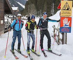 22.03.2018, Pichl-Preunegg bei Schladming, AUT, Red Bull Der lange Weg, Überquerung Alpenhauptkamm, längste Skitour der Welt, im Bild v. l. Bernhard Hug (SUI), Philipp Reiter (GER), David Wallmann (AUT) // during the Red Bull Der lange Weg, crossing of the main ridge of the Alps, longest ski tour of the world, in Pichl-Preunegg near Schladming, Austria on 2018/03/22. EXPA Pictures © 2018, PhotoCredit: EXPA/ Martin Huber