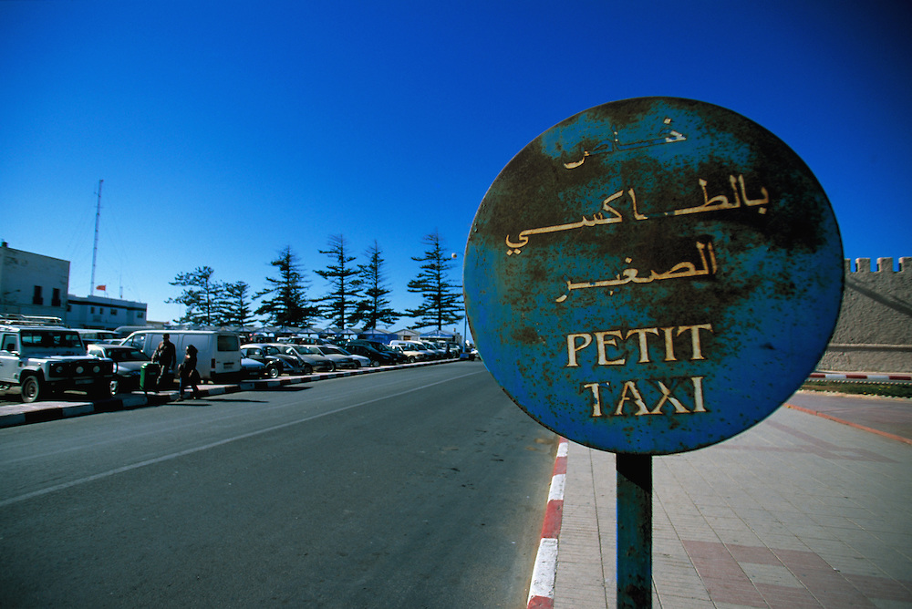 Travel. Editorial image. Petit taxi sign in Essouira Marocco.