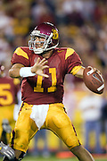 University of Southern California Trojan quarterback Matt Leinart looks down field  to pass the ball during a 70 to 17 win over the Arkansas Razorbacks on September 17, 2005 at Los Angeles Memorial Coliseum in Los Angeles, California. .Mandatory Credit: Wesley Hitt/Icon SMI