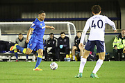 AFC Wimbledon defender Darius Charles (32) with a through ball during the EFL Trophy match between AFC Wimbledon and Tottenham Hotspur at the Cherry Red Records Stadium, Kingston, England on 3 October 2017. Photo by Matthew Redman.