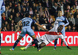 March 1, 2019 - Madrid, Madrid, Spain - Advincula of Rayo Vallecano and Douglas Luiz of Girona in action during La Liga Spanish championship, , football match between Rayo Vallecano and Girona , March 01th, in Estadio de Vallecas in Madrid, Spain. (Credit Image: © AFP7 via ZUMA Wire)