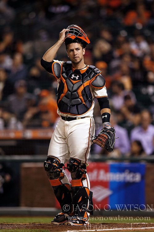 SAN FRANCISCO, CA - APRIL 18: Buster Posey #28 of the San Francisco Giants stands behind home plate against the Arizona Diamondbacks during the eighth inning at AT&T Park on April 18, 2016 in San Francisco, California. The Arizona Diamondbacks defeated the San Francisco Giants 9-7 in 11 innings.  (Photo by Jason O. Watson/Getty Images) *** Local Caption *** Buster Posey
