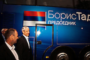 Serbian President Boris Tadic returns to his campaign bus in the Eastern Serbian town of Golubac following a campaign event...Matt Lutton for The Wall Street Journal..SERBELECT