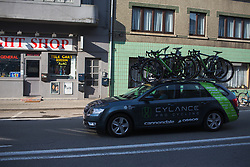The Cylance Pro Cycling team car arrives at the start of Liege-Bastogne-Liege - a 136 km road race, between Bastogne and Ans on April 22, 2018, in Wallonia, Belgium. (Photo by Balint Hamvas/Velofocus.com)