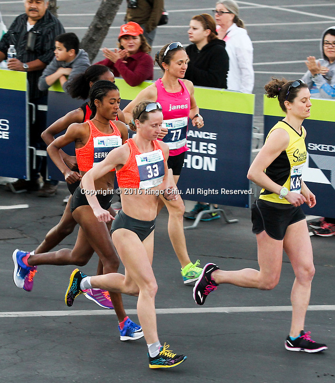 Winner Nataliya Lehonkova, front, of the Ukraine, and other elite women runners take off from Dodger Stadium during the 31st Los Angeles Marathon in Los Angeles, Sunday, Feb. 14, 2016. The 26.2-mile marathon started at Dodger Stadium and finished at Santa Monica.  (Photo by Ringo Chiu/PHOTOFORMULA.com)<br /> <br /> Usage Notes: This content is intended for editorial use only. For other uses, additional clearances may be required.