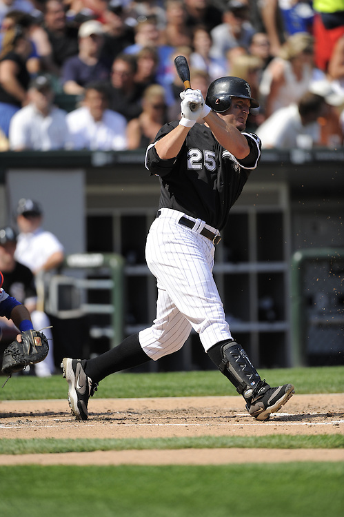 CHICAGO - JUNE 27:  Jim Thome #25 of the Chicago White Sox bats against the Chicago Cubs on June 27, 2009 at U.S. Cellular Field in Chicago, Illinois.  The White Sox defeated the Cubs 8-7.   (Photo by Ron Vesely)