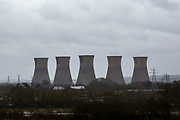 The cooling towers of Willington Coal fired power station, first commissioned in 1957 it contains four 104 M.W. generating units, Each unit, when on full load, burns approximately 1,000 tons of coal per day which produces 200 tons of ash. Willington, Derbyshire, United Kingdom.  (photo by Andrew Aitchison / In pictures via Getty Images)