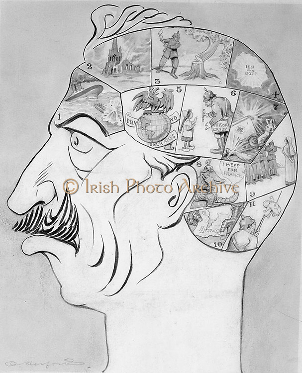 World War I 1914-1918 cartoon: Phrenological map of the German Kaiser's mind as a warped version the normal mind map.  Sinking 'Lusitania', Humanity: Giving poisoned sweet to a child, Generosity: Shooting nurses: Chivalry: etcetera.