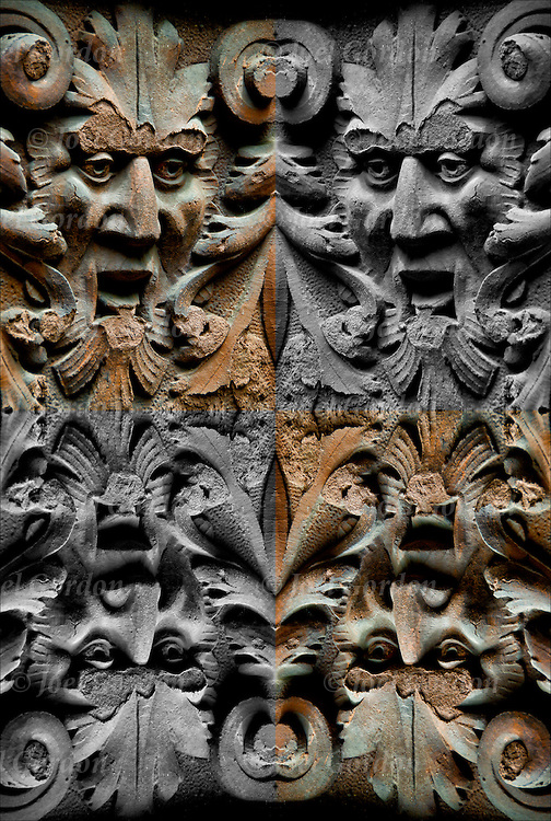 Two double mirror images of gargoyle. The effects of Acid Rain on face of gargoyle.  Gargoyle is a grotesque carved human or animal face or figure on side of building<br /> <br /> Image has been duplicated, flipped, altered and manipulated creating illusion