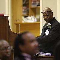 Image Award Recipient, Geno Jones, plays the Black American National Anthem Saturday at the MLK Banquet at St. Paul United Methodist Church