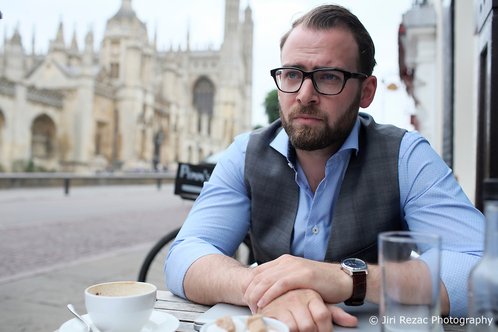 UK ENGLAND CAMBRIDGE 6SEP16 - Economics engineer Marcus Lycke (29) from Ostrohe, Germany at a cafe in  Cambridge city centre.<br /> <br /> jre/Photo by Jiri Rezac<br /> <br /> &copy; Jiri Rezac 2016