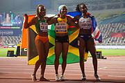 Dina Asher-Smith (Great Britain), Shelly-Ann Fraser-Pryce (Jamaica), Marie-Josee Ta Lou (Ivory Coast), Women's 100 Metres Final, during the 2019 IAAF World Athletics Championships at Khalifa International Stadium, Doha, Qatar on 29 September 2019.