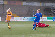 06/10/2017 - Forfar Farmington v Motherwell Ladies in SWPL2 at Station Park, Forfar: Striker Danni McGinley scores the third of her hat-trick as Forfar Farmington beat closest rivals Motherwell Ladies 5-1 to clinch promotion and the SWPL2 championship