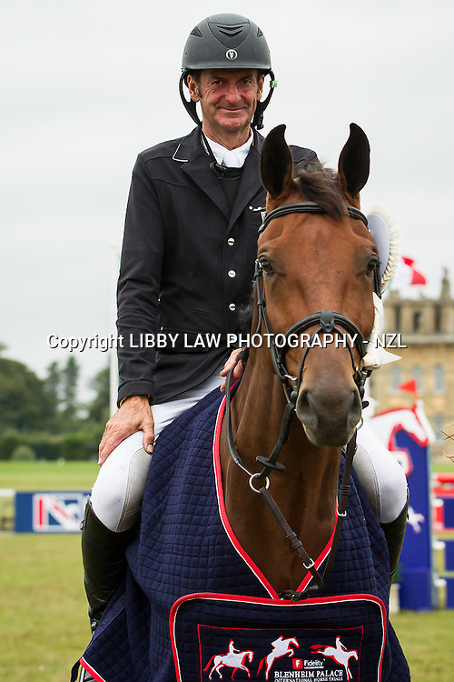 NZL-Sir Mark Todd (LEONIDAS II) CIC3* 8/9YO PRIZEGIVING: FINAL-3RD: 2013 GBR-Fidelity Blenheim Palace International Horse Trial (Sunday 15 September) CREDIT: Libby Law COPYRIGHT: LIBBY LAW PHOTOGRAPHY - NZL\