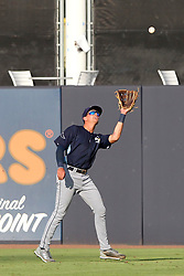 May 28, 2018 - Tampa, FL, U.S. - TAMPA, FL - MAY 23: Josh Lowe (28) of the Stone Crabs makes a catch during the Florida State League game between the Charlotte Stone Crabs and the Tampa Tarpons on May 23, 2018, at Steinbrenner Field in Tampa, FL. (Photo by Cliff Welch/Icon Sportswire) (Credit Image: © Cliff Welch/Icon SMI via ZUMA Press)