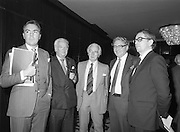 07/11/1982<br /> 11/07/1982<br /> 07 November 1982<br /> Fitzwilton Limited, Annual General Meeting at the Berkeley Court Hotel, Dublin. Picture shows (l-r): Dr. A.J.F. (Tony) O'Reilly, Chairman; The Lord Killanin, Director; Sir Basil Goulding, Director; Vincent A. Ferguson, Director and Nicholas Leonard, Director at the meeting.