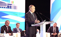 October 11, 2016 - Kovrov, Vladimir Region, Russia - October 11, 2016. - Russia, Vladimir Region, Kovrov. - Russian President Vladimir Putin speaks at the plenary meeting of the VI International Sports Forum 'Russia - a Sports Power' in Kovrov. (Credit Image: © Russian Look via ZUMA Wire)