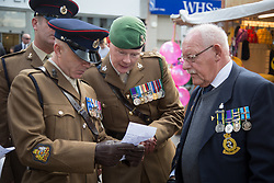 @Licensed to London News Pictures 20/05/17. Maidstone, Kent. Veteran soldiers from the Queen's Gurkha  Engineers gather to join in the Civic & Freedom Parade today in Maidstone, Kent. They will be accompanied by the 36 Engineer Regiment and the Band of the Brigade of Gurkhas. Photo credit: Manu Palomeque/LNP