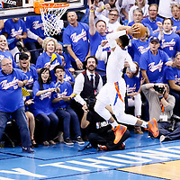 06 May 2016: Oklahoma City Thunder guard Russell Westbrook (0) goes for the dunk during the San Antonio Spurs 100-96 victory over the Oklahoma City Thunder, during Game Three of the Western Conference Semifinals of the NBA Playoffs at the Chesapeake Energy Arena, Oklahoma City, Oklahoma, USA.