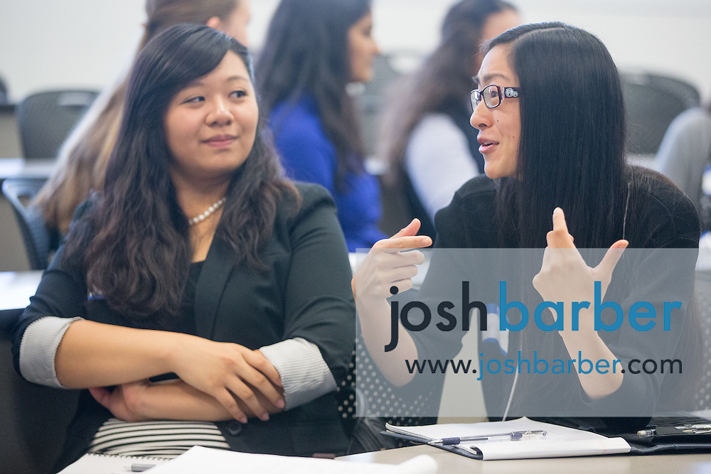 Kymberly Okamoto, Amanda Tran during the first event of the Mihaylo College of Business and Economics Women's Leadership Program at California State University Fullerton  on Friday, Nov. 6, 2015 in Fullerton, California.