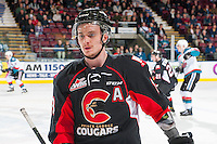 KELOWNA, CANADA - MARCH 1: Jesse Gabrielle #13 of the Prince George Cougars skates to the bench against the Kelowna Rockets on MARCH 1, 2017 at Prospera Place in Kelowna, British Columbia, Canada.  (Photo by Marissa Baecker/Shoot the Breeze)  *** Local Caption ***