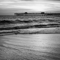 San Clemente Pier high resolution black and white photo. San Clemente Pier is a popular local attraction in Orange County Southern California in the Western USA. Copyright ⓒ 2017 Paul Velgos with All Rights Reserved.
