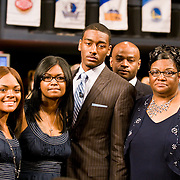John Wall and family minutes before he is selected with the first pick in the 2010 NBA Draft.