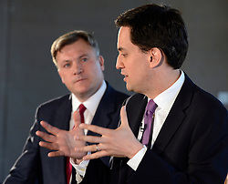© Licensed to London News Pictures. 30/04/2012. London, UK . Leader of the Opposition Ed Miliband (r) and Shadow Chancellor Ed Balls Q&A session on economic policy and the UK's return to recession. Coin Street neighbourhood centre, London today. Photo credit : Stephen Simpson/LNP