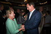 STEVE HILTON' MOTHER HAJNI HILTON AND DAVID CAMERON, Launch of ' More Human'  by Steve Hilton. Second Home, Shoreditch. London. 19 May 2015.