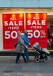 Pictured: <br /> <br /> Once Christmas is past Glasgow gets ready to get back to normal straight away, even on Hogmanay, shoppers are enticed out of their stupor to buy, buy, buy<br /> <br /> Ger Harley   EEm 31 December 2018