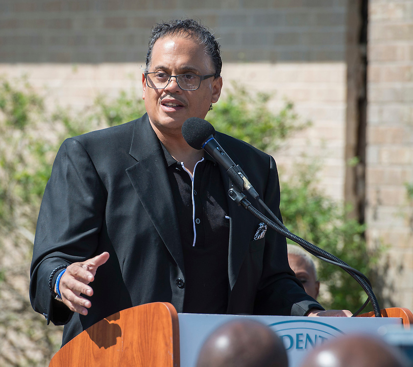 Dr. John E. Codwell III comments during a groundbreaking ceremony at Codwell Elementary School, March 3, 2017.