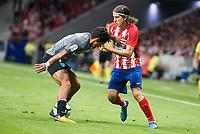 Atletico de Madrid's Filipe Luis and Malaga's Alejandro Miguel Mula during La Liga match between Atletico de Madrid and Malaga CF at Wanda Metropolitano in Madrid, Spain September 16, 2017. (ALTERPHOTOS/Borja B.Hojas)