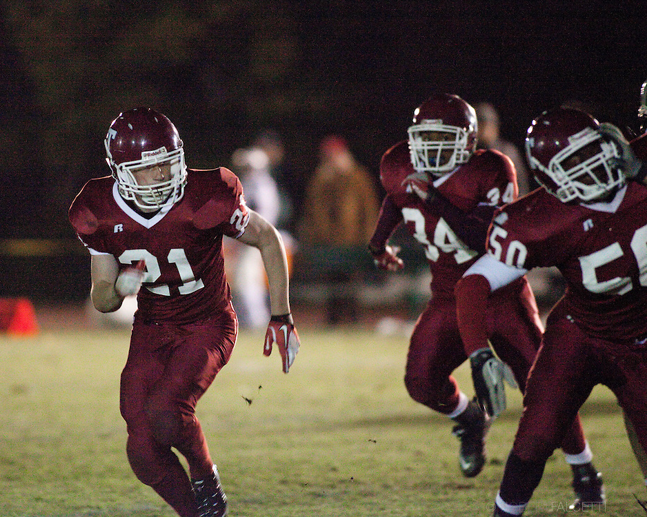 The Taft School, Watertown, CT. 2011. Varsity Football on the campus of the Taft School, a New England college preparatory boarding and day school. (Photo by Robert Falcetti).Admissions marketing & communications athletics photography-New England Private Independent School Athletics-prep school varsity sports.  ... .