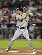Jul 14, 2013; Phoenix, AZ, USA;  Milwaukee Brewers outfielder Logan Schafer (22) at bat against the Arizona Diamondbacks at Chase Field. The Brewers defeated the Diamondbacks 5-1. Mandatory Credit: Jennifer Stewart-USA TODAY Sports