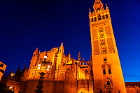 Giralda Tower and Seville Cathedral, Seville, Andalusia, Spain.