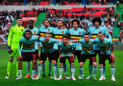 Belgium's players pose before a friendly soccer match betweem Portugal and Belgium in preparation for Euro 2016 in France at Leiria Municipal Stadium, Portugal, on March 29, 2016. Portugal won 2-1. EXPA Pictures © 2016, PhotoCredit: EXPA/ Photoshot/ Zhang Liyun<br /> <br /> *****ATTENTION - for AUT, SLO, CRO, SRB, BIH, MAZ, SUI only*****