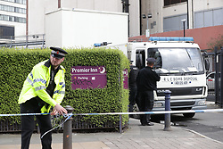 © Licensed to London News Pictures. 22/04/2018. Manchester, UK. Police are responding to a suspect package at a Premier Inn Hotel near to Victoria Station in Manchester City Centre. The hotel has been evacuated and the bomb squad are attending. Photo credit: Joel Goodman/LNP