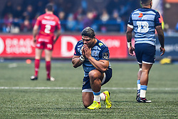 Cardiff Blues' Nick Williams says a prayer before the game - Mandatory by-line: Craig Thomas/Replay images - 31/12/2017 - RUGBY - Cardiff Arms Park - Cardiff , Wales - Blues v Scarlets - Guinness Pro 14