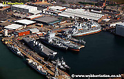 aerial photograph of Portsmouth Docks Hampshire UK