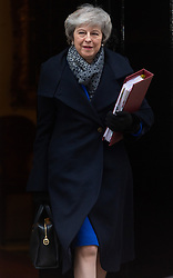© Licensed to London News Pictures. 16/01/2019. London, UK. British Prime Minister Theresa May leave No. 10 Downing Street for Question Time after a a voted rejection of the Brexit deal. Photo credit: Ray Tang/LNP
