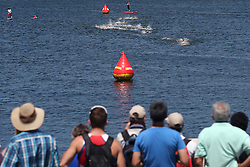 The swim leg of the Elite Womens race of the Discovery Triathlon World Cup Cape Town leg held at Green Point in Cape Town, South Africa on the 11th February 2017.<br /> <br /> Photo by Shaun Roy/RealTime Images