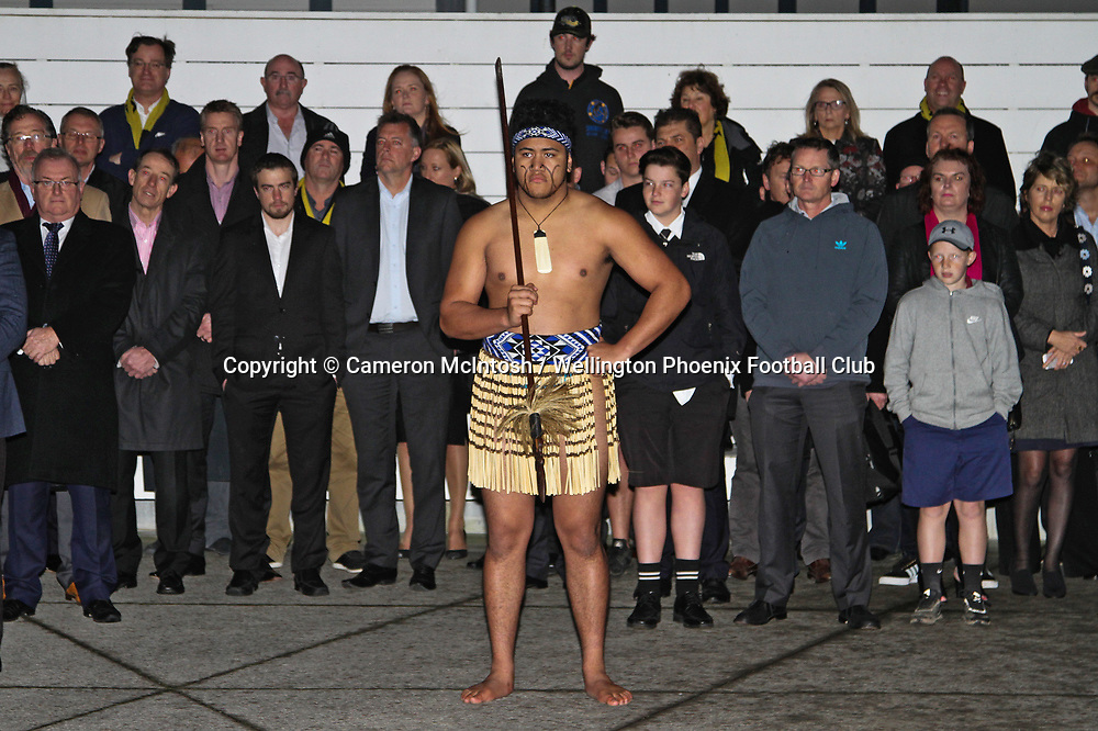 Powhiri at the dawn ceremony and new logo unveiling of the Wellington Phoenix Football Club at The Wharewhaka Function Centre in Wellington, New Zealand on 10 August 2017.<br /> Copyright photo: Cameron McIntosh / www.photosport.nz