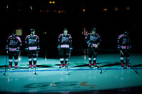 KELOWNA, CANADA - OCTOBER 21: Kyle Topping #24, Kole Lind #16, Kaedan Korczak #6, Nolan Foote #29 and James Hilsendager #2 of the Kelowna Rockets line up against the Portland Winterhawks on October 21, 2017 at Prospera Place in Kelowna, British Columbia, Canada.  (Photo by Marissa Baecker/Shoot the Breeze)  *** Local Caption ***