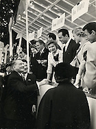 President Rene Coty, thanking french movie stars for their help in raising money for Veterans with Yves Montand, George Guetary and many other stars.<br />