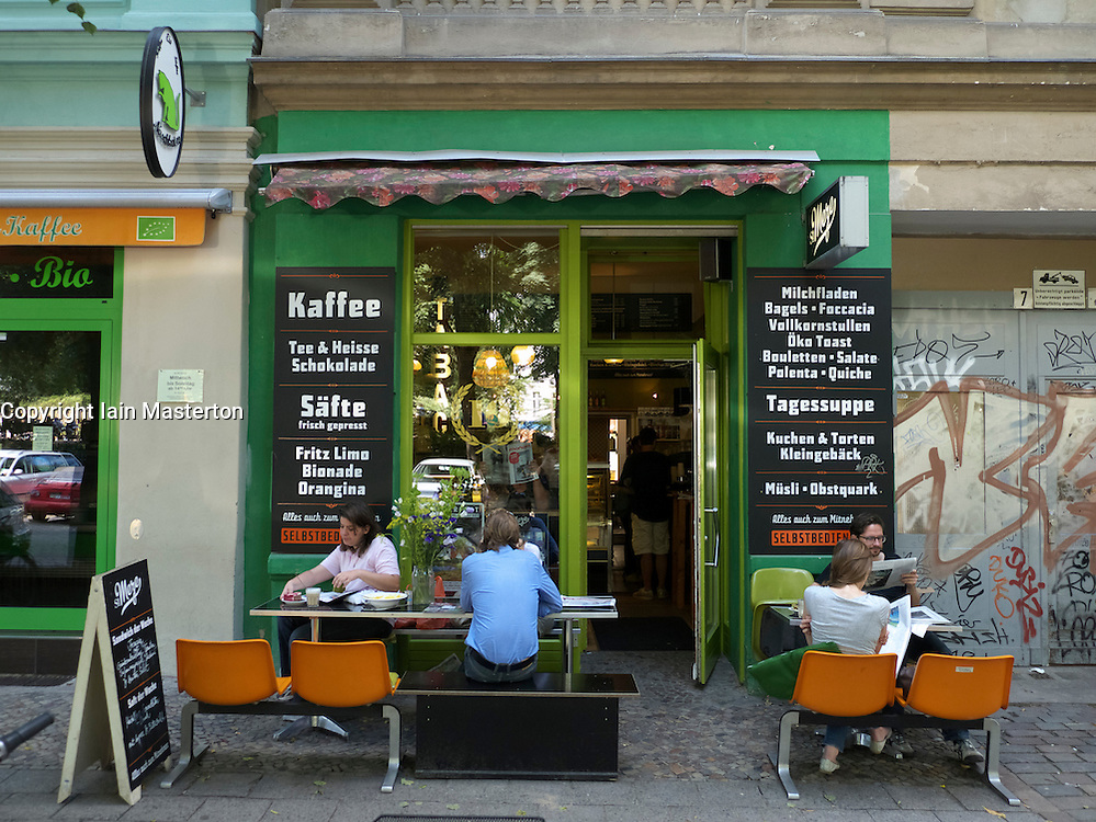 Cafe in bohemian Helmholtzplatz in Prenzlauer Berg Berlin Germany