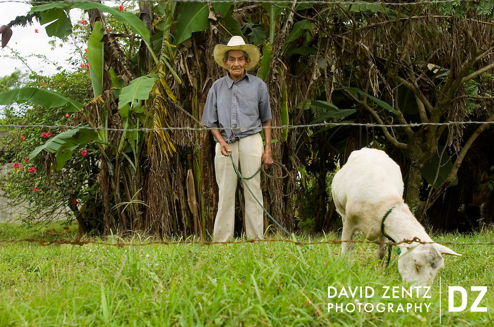 A man hold his goat on a leash as it munches on grass in Guisquiliapa, Nicaragua on October 6, 2004.