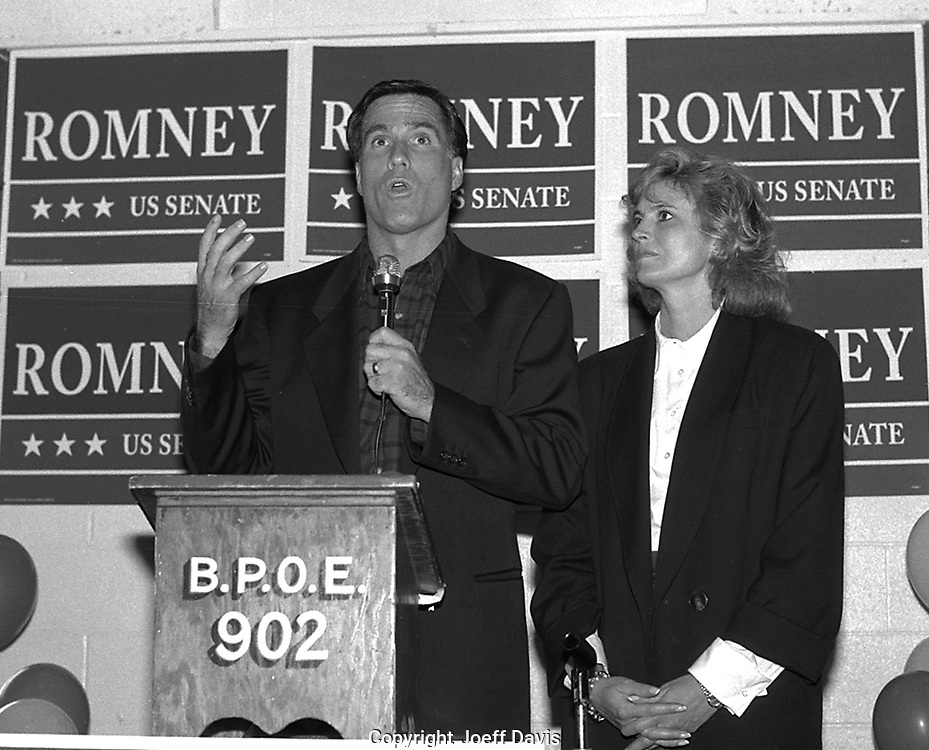 "HOLYOKE, MA-1994: Republican challenger Mitt Romney campaigns against Senator Edward ""Ted"" Kennedy in the race for the Massachusetts senate seat which Kennedy has held for 32 years. Appearing by his side is his wife Ann Romney."