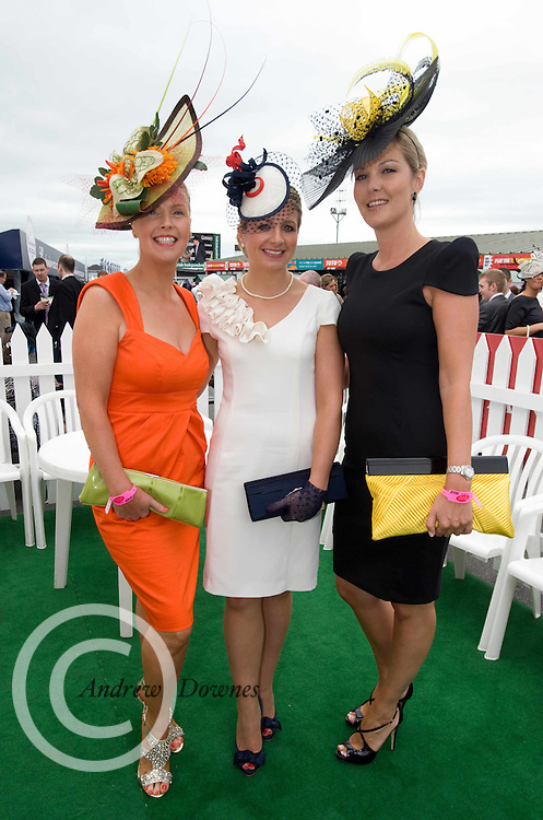 Finalists in teh Antony Ryan Best Dressed competition Gillian Gilbourne , Ruth Kelly Ballinasloe  Carroll Rooney Roscam Galway at Ladies day of the Galway Races in Ballybrit. Photo:Andrew Downes