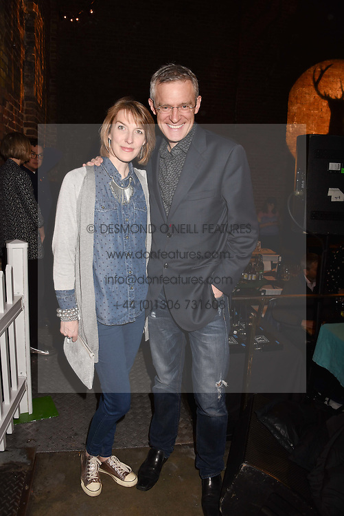 Jeremy Vine and Rachel Schofield at the Centrepoint Ultimate Pub Quiz, Village Underground, 54 Holywell Lane, London England. 7 February 2017.