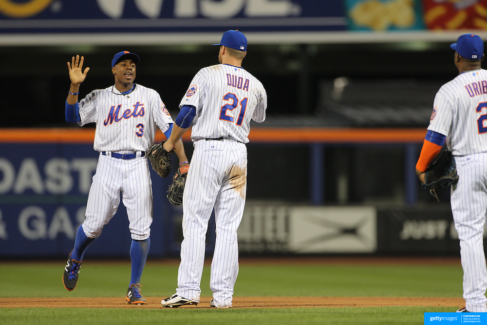 Curtis Granderson, (left) and Lucas Duda, New York Mets, celebrate their sides win during the New York Mets Vs Washington Nationals. MLB regular season baseball game at Citi Field, Queens, New York. USA. 1st August 2015. (Tim Clayton for New York Daily News)